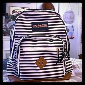 Black and White Striped Jansport Backpack